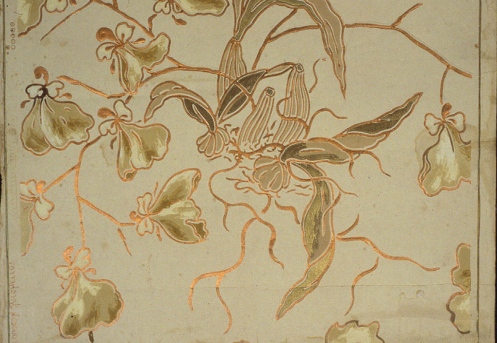 """Light green-yellow ground, conventional flowers and leaves in darker shade outlined heavily with bronze. Marked: """"Campbell and Co. Calopocon Pulchellus"""". Outline of design is embossed in copper bronze."""