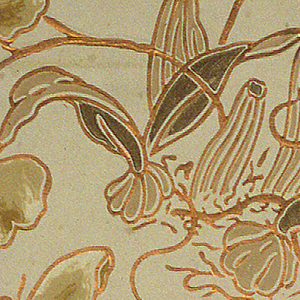 "Light green-yellow ground, conventional flowers and leaves in darker shade outlined heavily with bronze. Marked: ""Campbell and Co. Calopocon Pulchellus"". Outline of design is embossed in copper bronze."