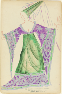 Female figure in purple, green, and silver dress, wearing a hat.