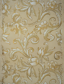 Conventional lotus design in tan and olive embossed on cream ground. Outline of design embossed and gilded.