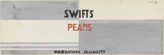 Product label for pears with gray blocks and black and red lettering.