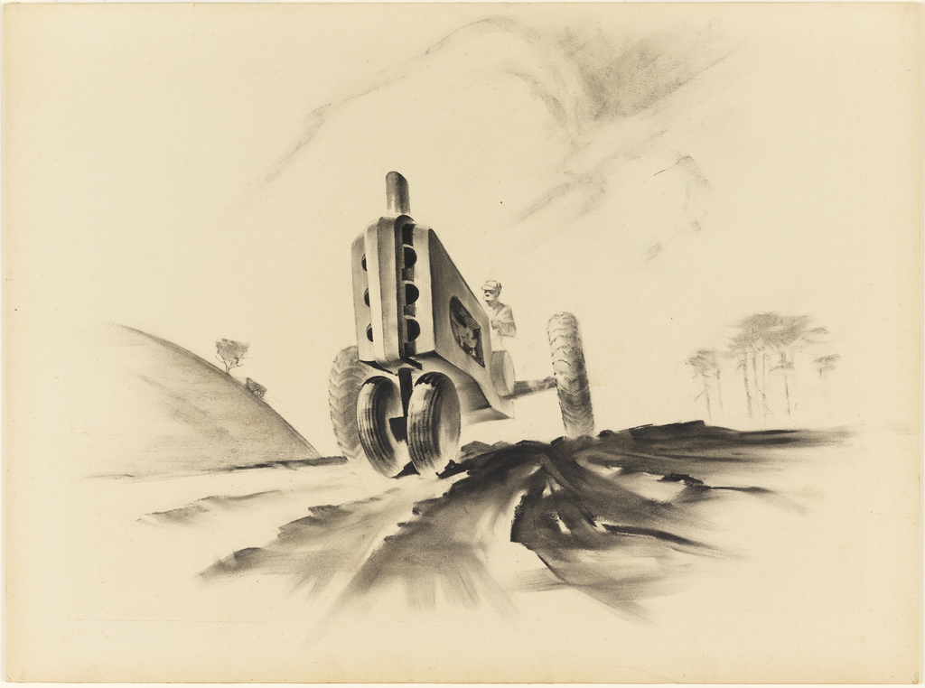 View of farmer wearing a cap driving a streamlined tractor, a vehicle intended for agricultural, farming, or construction purposes. The tractor appears on a road in the center of the composition, with a hill and trees on the left and trees on the right. The vehicle approaches the viewer, and foreshortening is exaggerated, making the front end loom large like a speeding train. The tractor's radiator grill consists of disc-like cut-outs divided by a vertical piece of steel.