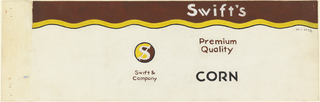 Product label for corn with brown and yellow upper margin and Swift Co. logo.