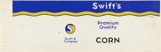 Product label for corn with blue and yellow upper margin and Swift Co. logo.