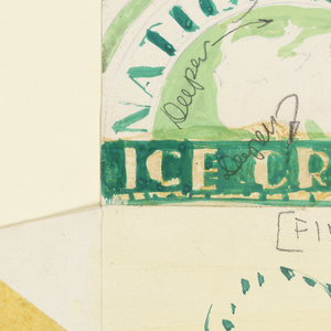 Produce label for ice cream in green and two cow heads.