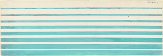 Product label decorated with aqua and white horizontal stripes.