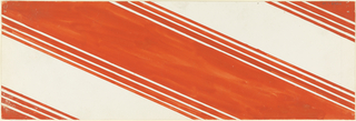 Product label with diagonal orange and white pattern.
