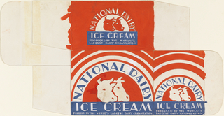 Label portion of packaging for National Dairy Ice Cream.