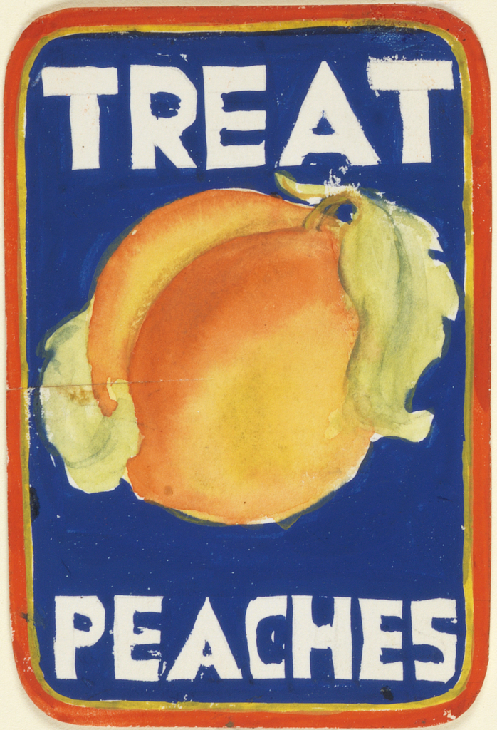 Product label in blue, outlined in red, with large peach at center and white letting.