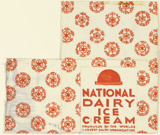Product label for National Dairy Ice Cream, decorated with red snowflakes.