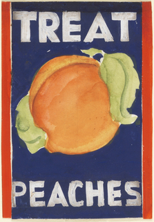 Product label for peaches, on blue ground, outlined in red, with large peach and white lettering.