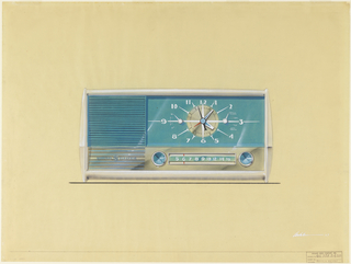Rectangular clock radio on yellowed vellum background and base line with white case, blue-green and silverish metal face.  Clock and radio controls on right two-thirds of case with speaker on left third. General Electric and logo on lower left of speaker section.