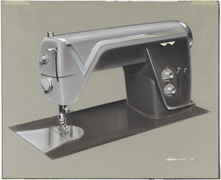 "Dark brown and grey sewing machine design with chrome strip featuring ""v"" shape at head of machine."