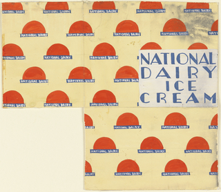 Product label for National Dairy Ice Cream, with red semicircles.