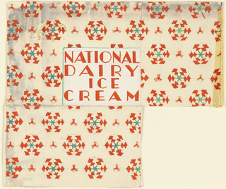 Product label for National Dairy Ice Cream, decorated with red and green snowflakes.