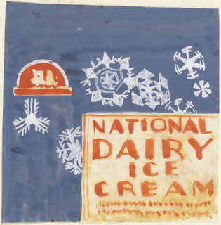 Product label for National Dairy Ice Cream, decorated with white snowflakes on blue background.