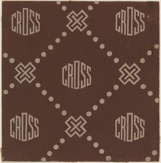 Mark Cross company logo on a brown background with a pattern of dots, cross designs and the Cross name written in tan.