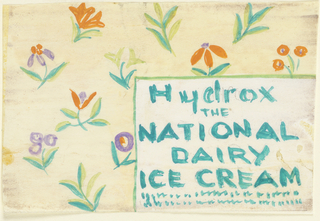 Product label for National Dairy Ice Cream, decorated with colorful flowers.