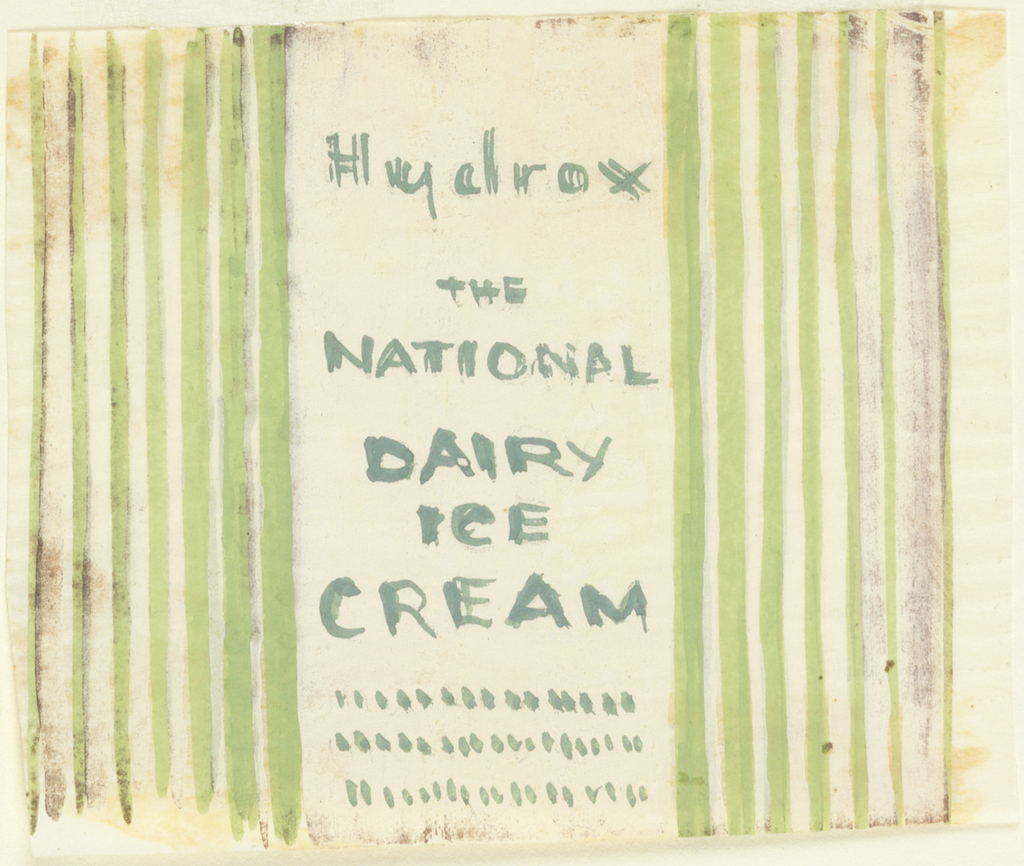 Product label for National Dairy Ice Cream with green stripes.