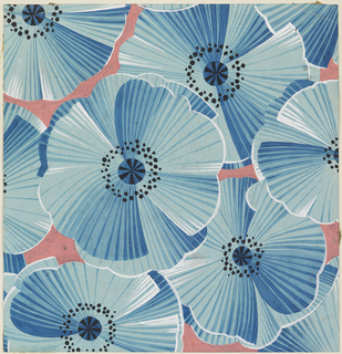 Large flower head pattern in varying shades of blue with black interiors against a pink background.