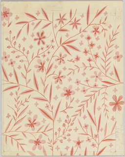 On cream paper: a delicate design of leaves and small flowers in shades of pink;  some lines in graphite along perimeter of the image and sketches of flower heads in corners.   .
