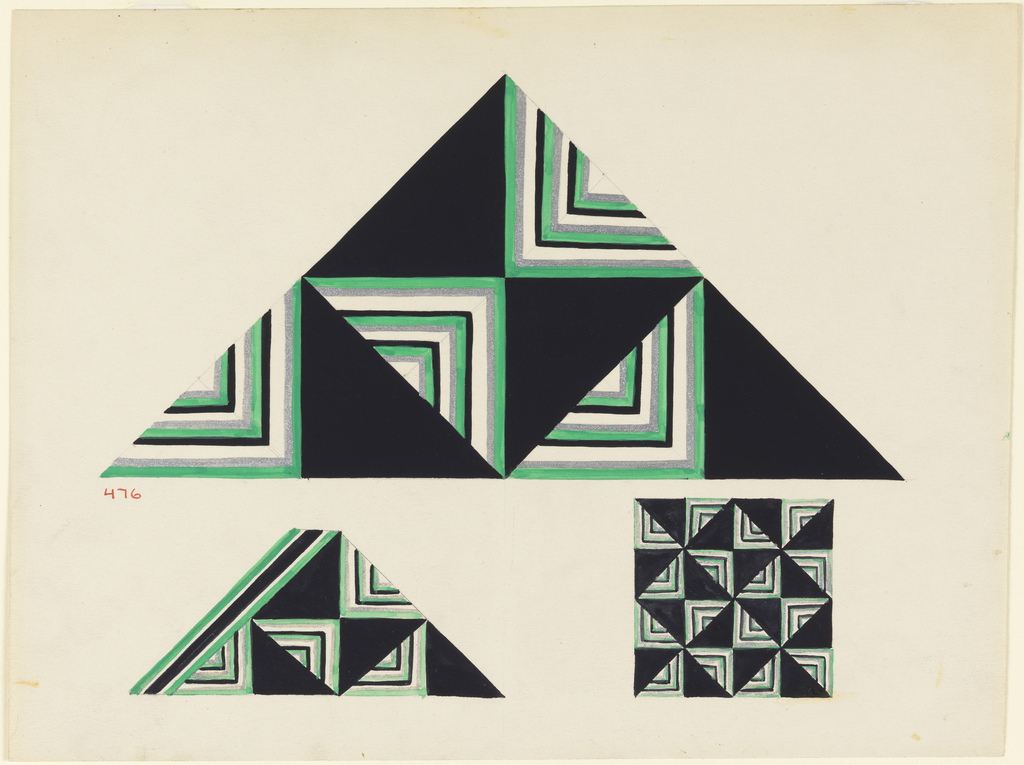 Design for a triangular package with, on flat sides, geometric triangular forms alternating solid black in negative areas and lines in right angles in other areas, above; perspective view of box showing narrow band on lower left, and a square showing general design.