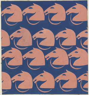 Stylized horse heads in pink against a navy blue background.