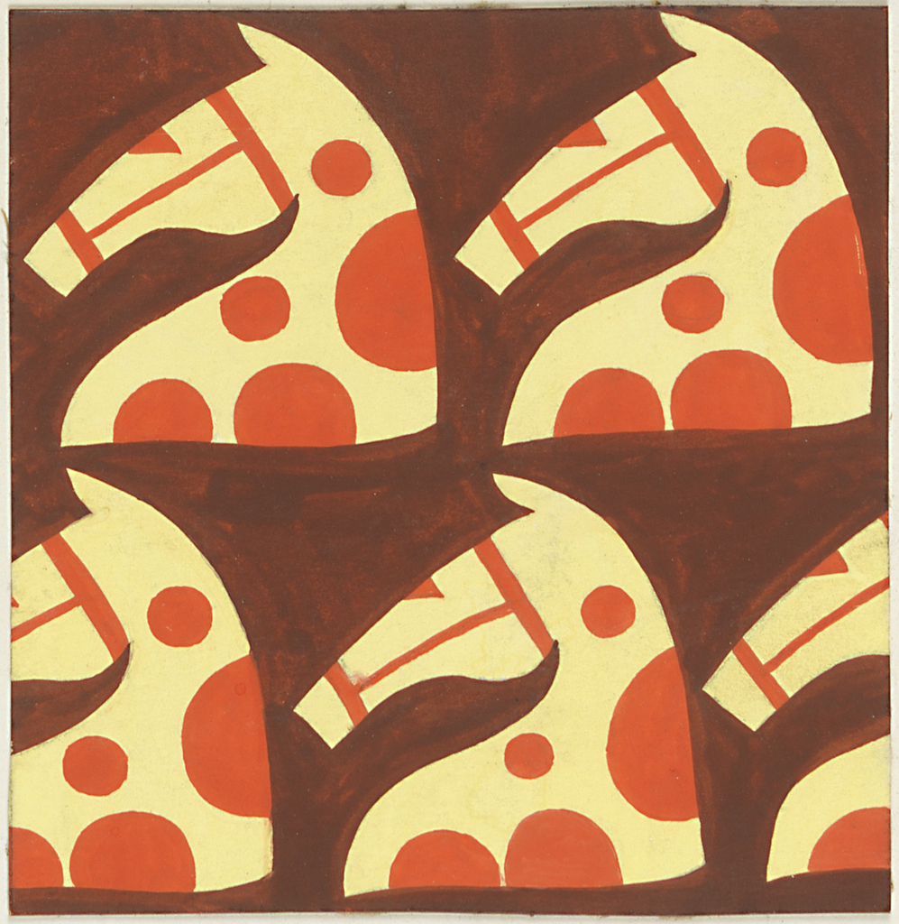 Drawing Stylized Horse Head Pattern Textile Design Ca 1930
