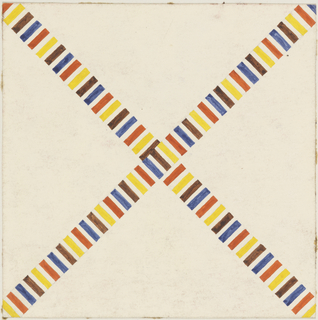 "Two striped bands (yellow, orange, blue, brown and white) cross to form an ""X"" on a cream background."