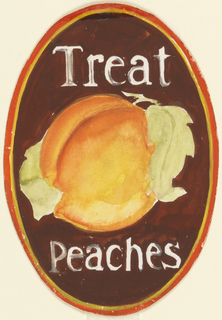Product label in oval shape, with brown background, large peach, and white lettering.