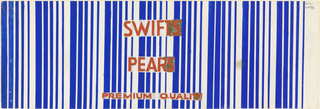 Product label for pears with blue and white stripes and red lettering.
