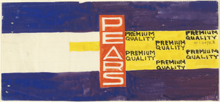 Product lable for pears with blue horizontal bands, yellow, and white on red lettering.