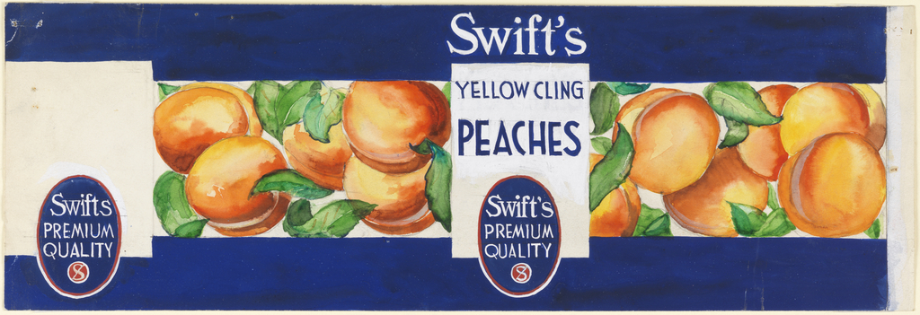 Package label with blue bands and peaches.