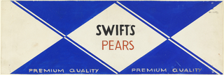 Product label for pears with blue and white arguile.