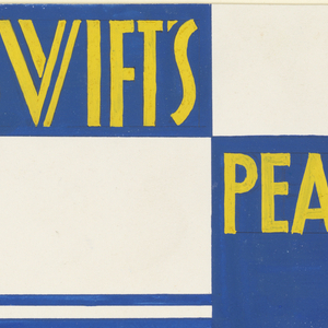 Product label for pears with blue bands and yellow lettering.