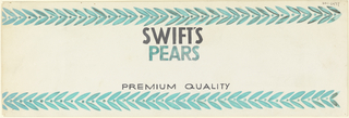 Product label for pears with vine of green leaves across upper and lower margins.
