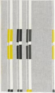 "Columns of irregularly spaced stripes, each stripe alternating rectangles of gray and white with rectangles of black or yellow, in ""White, Black, Gray, Yellow on Light Gray"" colorway."