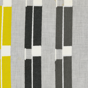 """Columns of irregularly spaced stripes, each stripe alternating rectangles of gray and white with rectangles of black or yellow, in """"White, Black, Gray, Yellow on Light Gray"""" colorway."""
