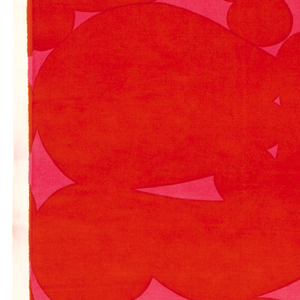 Tangent irregular rounded forms, in red on a bright pink ground.