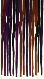 Panel of printed velvet with undulating ribbons of color appearing to hang from the top and terminate several inches above the bottom. In mixed shades of purple and brown on a white ground.