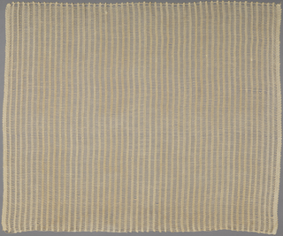 """Structural open weave with vertical stripes alternating open areas with areas of densely packed warps. In """"Natural"""" colorway."""