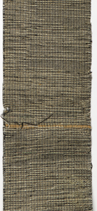 Handwoven with a variety of yarn weights in black, tan and white.