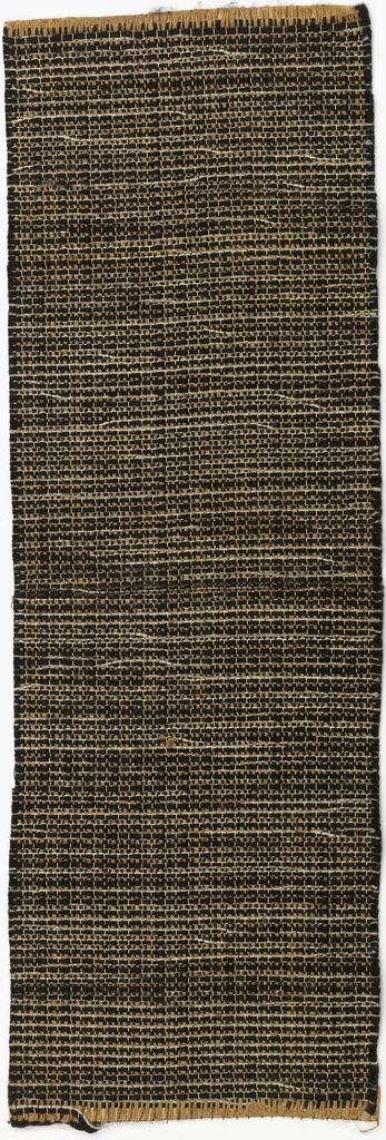 Plain woven textile with alternating dark brown solid wefts and multi colored natural wefts. Warp threads are a thin mustard color.