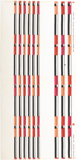 "Columns of irregularly spaced stripes, each stripe alternating rectangles of black and white with rectangles of bright color, in ""Black, Red, Pink, Persimmon on White"" colorway."