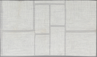 "Rectangles of varied size, each filled with concentric lines, in ""White on White Sheer"" colorway."