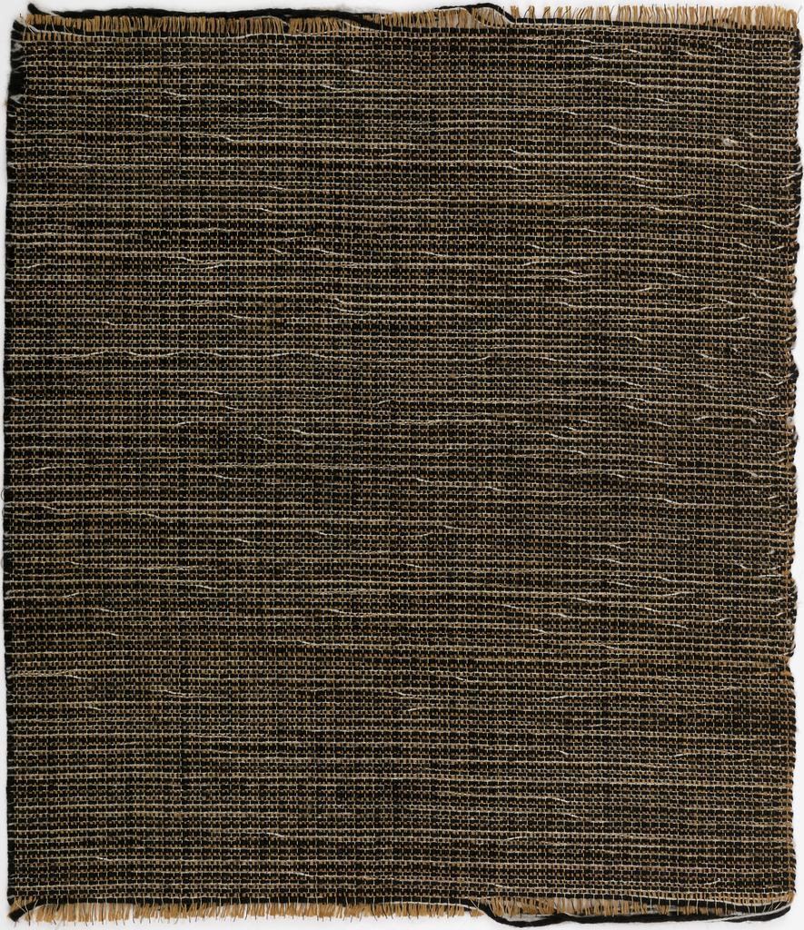 """Handwoven in varied weights of yarn in """"Natural, Black with White"""" colorway."""