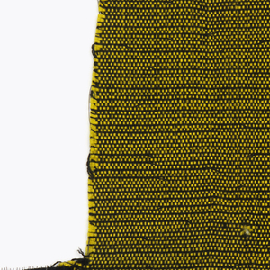 Skinny black warp with weft alternating between black and much heavier yellow yarn, in black with yellow colorway.