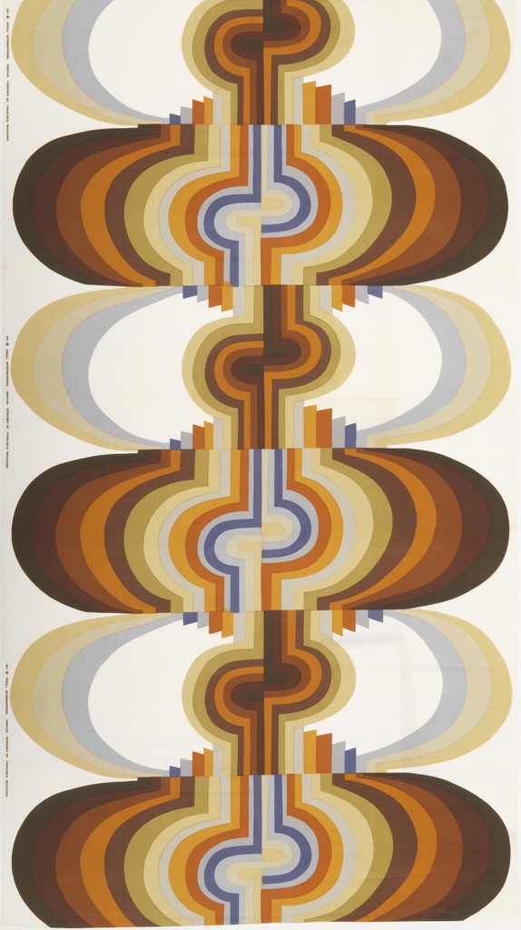 Large-scale design of compressed ovals composed of concentric bands of color, in shades of brown, rust, tan, orange and blue.