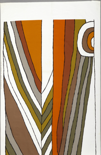 Large-scale design of undulating lines converging in an irregular chevron, in shades of brown, rust, olive and white.