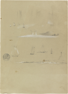A sailing ship and two details of it. Distant view of four ships. At center, the masts of a ship shown behind a projecting shore, and at bottom, four views of sailing ships. A projecting shoreline is also shown.